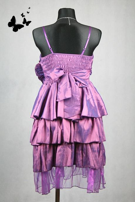 Společenské fialové šaty s kytičkou vel 38, 38