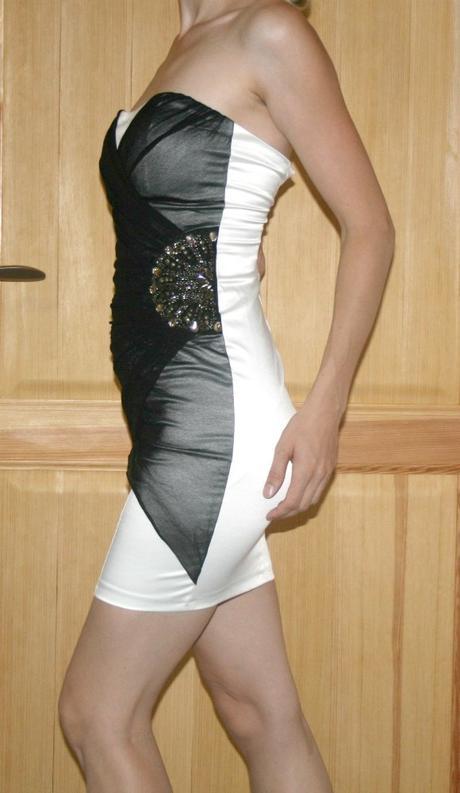 Společenské šaty černo-bílé Jane Norman vel 34, 34