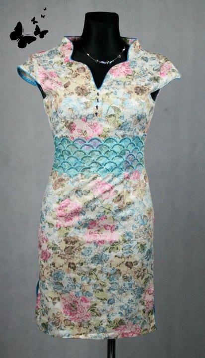 Společenské šaty čínský styl vel 38, 38