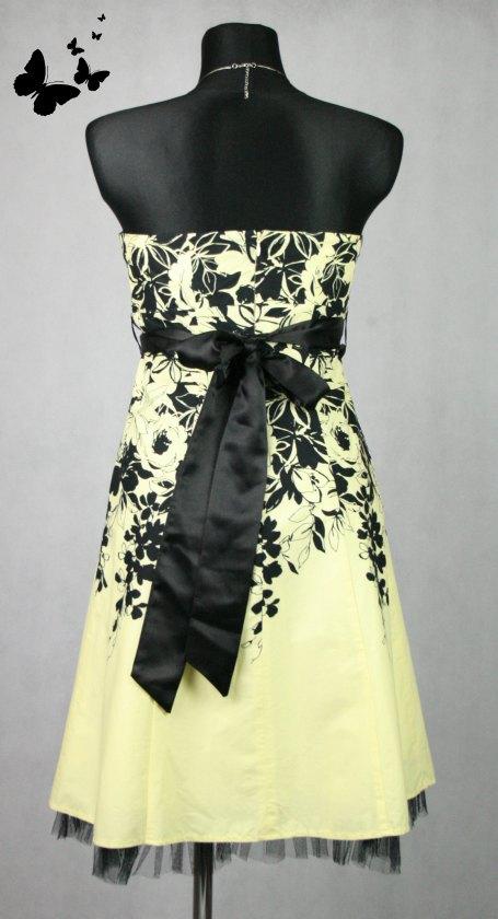 Společenské žluté koktejlové šaty vel 38-40, 38