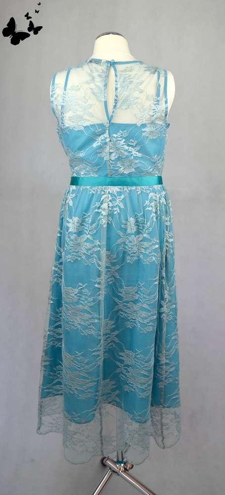 Tyrkysové krajkové šaty vel 36, 36