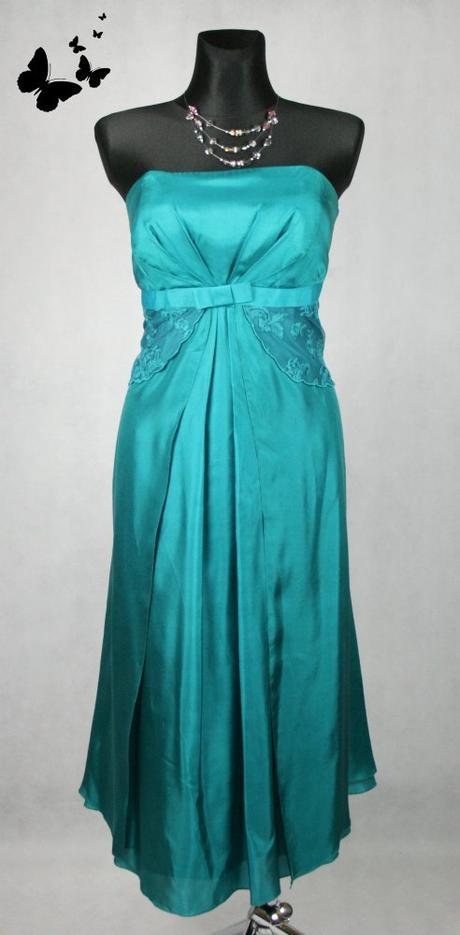 Zelené polodlouhé šaty saténové vel 42, 42