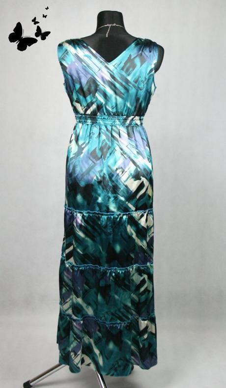 Zelenkavé dlouhé šaty na ramínka vel 42, 42