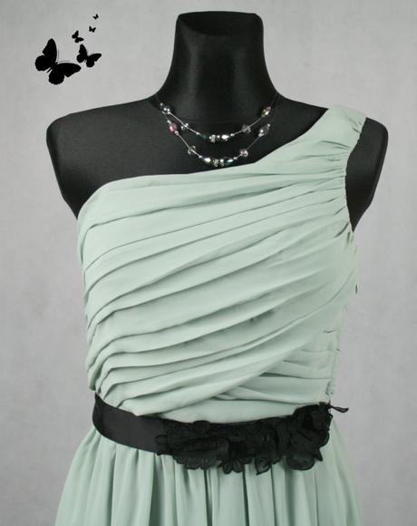 Zelenkavé šaty na jedno rameno vel 42, 42