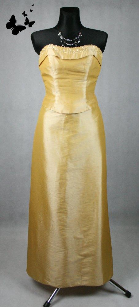 Zlaté dlouhé společenské šaty s korálky vel 38, 38