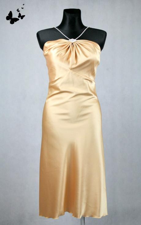Zlaté polodlouhé společenské šaty vel 38, 38