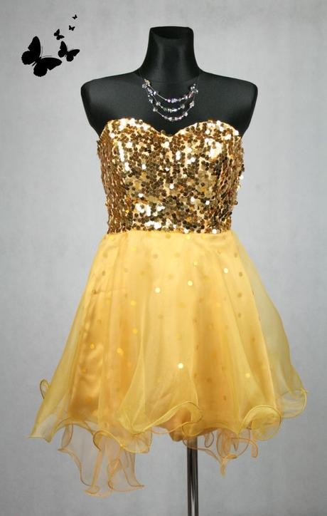 Zlaté třpytivé šaty vel 38, 38