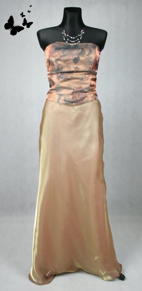 Zlato-hnědé korzetové společenské šaty vel 40, 40