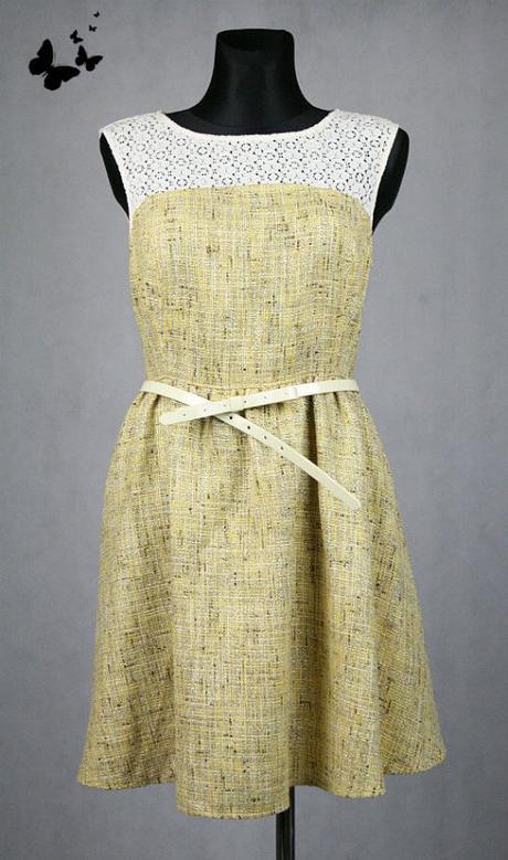 Žluté šaty s krajkou a páskem vel 42, 42