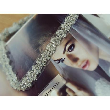Glamour ručne vyšívaná krištáľová čelenka,