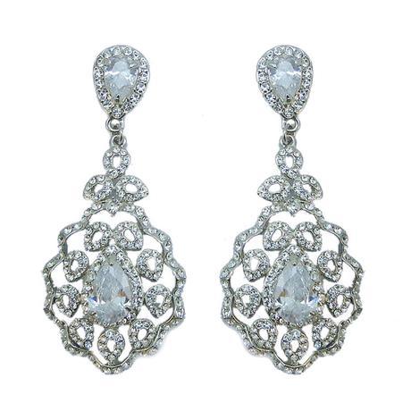 Svadobné chandelier zirkónové náušnice ,