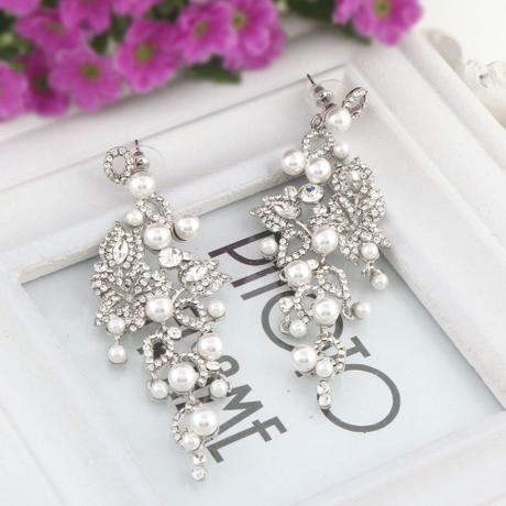 Svadobné/spoločenské chandelier krištáľové náušnic,