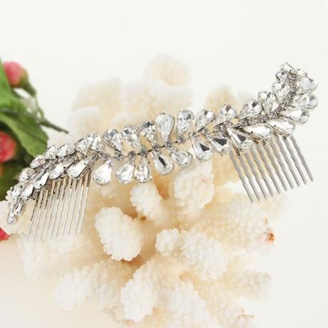 Svadobný krištáľový hrebienok do vlasov,