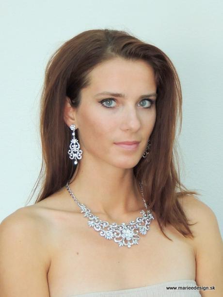 Svadobný/spoločenský náhrdelník + náušnice,