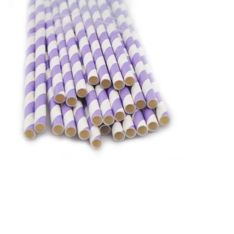 Slamky s fialovými prúžkami 25 kusov,