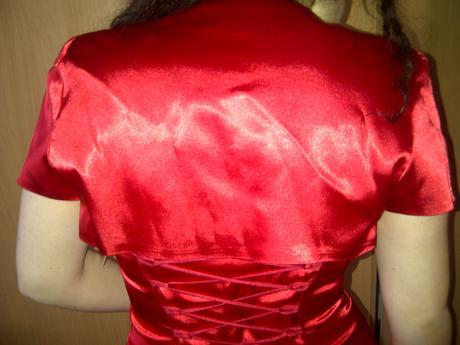 červené šaty na šnurovačku s bolerkom, 40