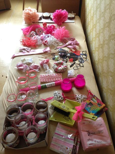 Růžové dekorace,