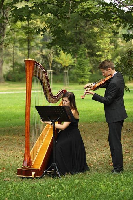 Hudební doprovod obřadu - harfa (housle),