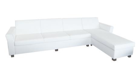 Elegantná biela rohová sedacia súprava,