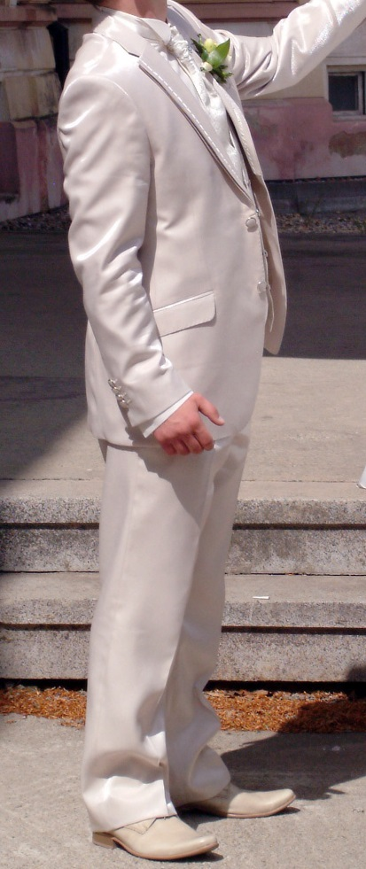 Champagno svadobný oblek , 42
