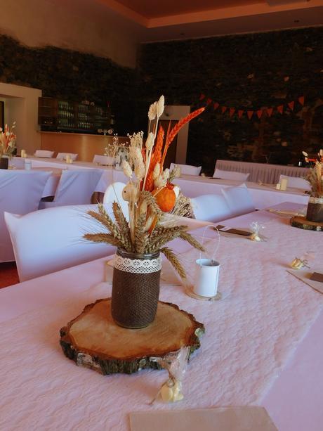 Svatební dekorace - komplet (oranžová a hnědá) ,