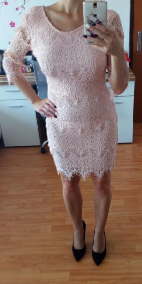 lososove čipkovane šaty, 38