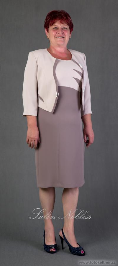 Elegantní šaty se zajímavým sáčkem v béžové barvě, 42