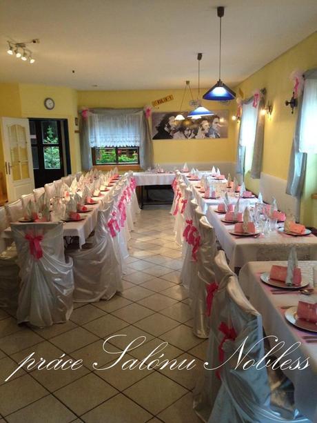 Svatební dekorace komplet pronájem růžovostříbrná ,