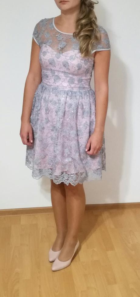Čipkované ružovo-sivé šatky, 38