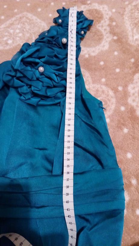 Dlhé tyrkysové šaty na jedno rameno , 38