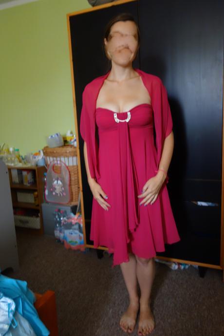 společenské malinové fuchsiové šaty, 38