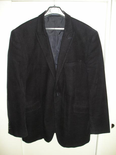 Čierne pánske menčestrové sako s poštovným, 42