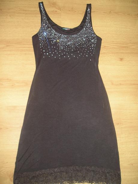 Čokoládovo-hnedé elastické šaty , M