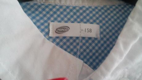 Nenosena bledomodro-biels košeľa s poštovným, 158