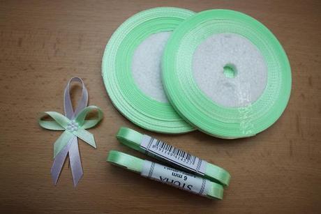 Světle zelená stuha - atlasová a šifonová 6 mm,