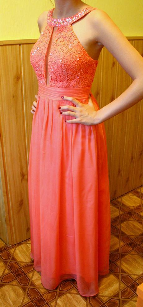 Spoločenské šaty dlhé lososové, 36