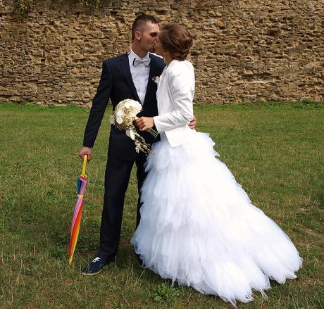 Svadobné ľahučke šaty, šité na mieru z USA, 36