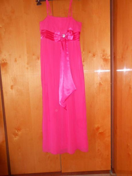 Cyklamenové šaty s mašlou, M
