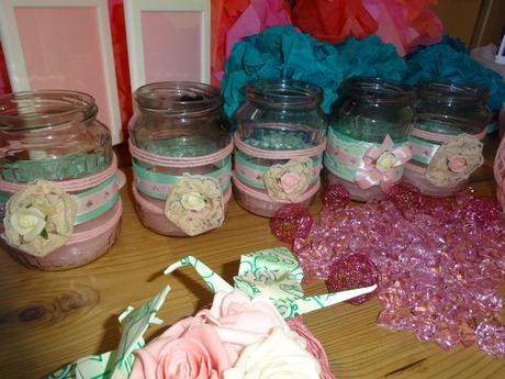 Svatební dekorace růžovo mentolová,