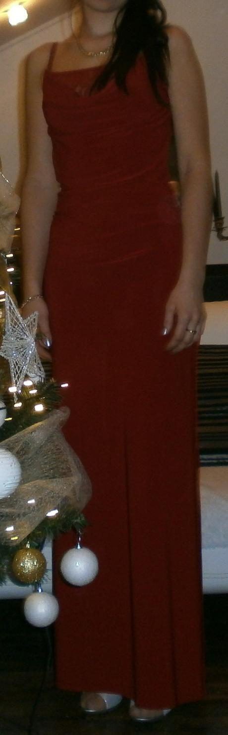 červené dlhé  šaty, 38