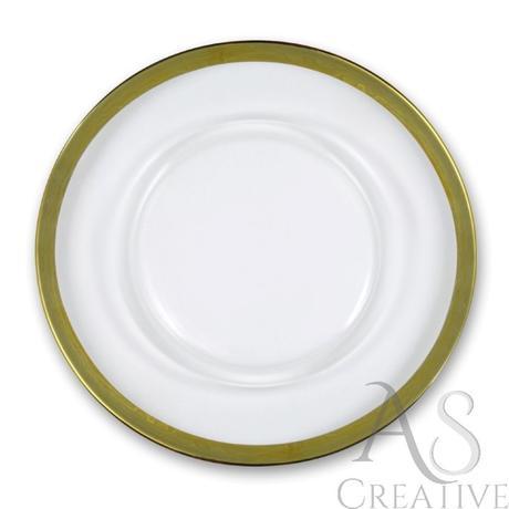 Klubové taniere na predaj - hladké so zlatým lemom,