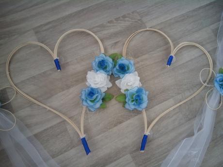 Svatební výzdoba na auto ženicha+nevěsty modrá,