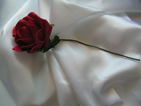 Tmavě červená pěnová růže - 7 cm,