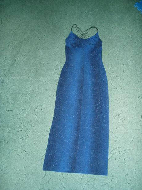 modré spoločenské šaty, 38