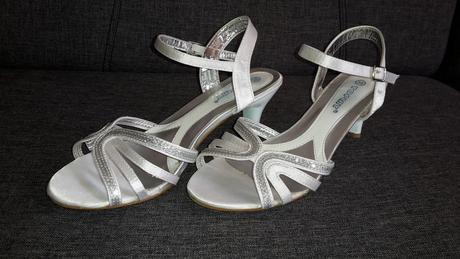 Svadobné saténové sandálky s opätkom, 38