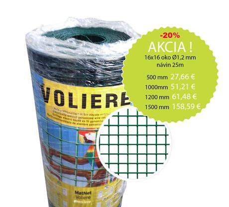 Chovateľské pletivo PVC, Voliere 16x16 mm, Ø 1,2 m,