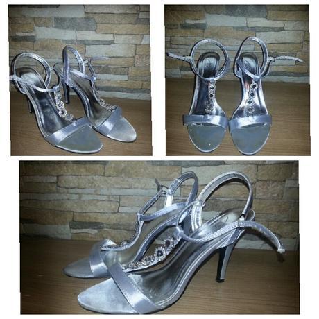Strieborne satenove sandalky, 39