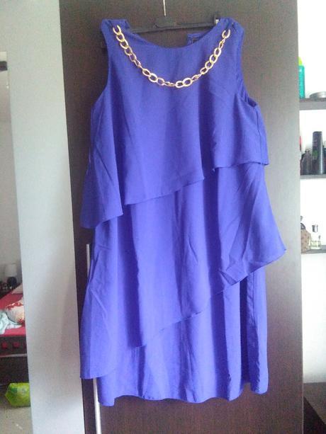 Volánkové modré šaty , 44