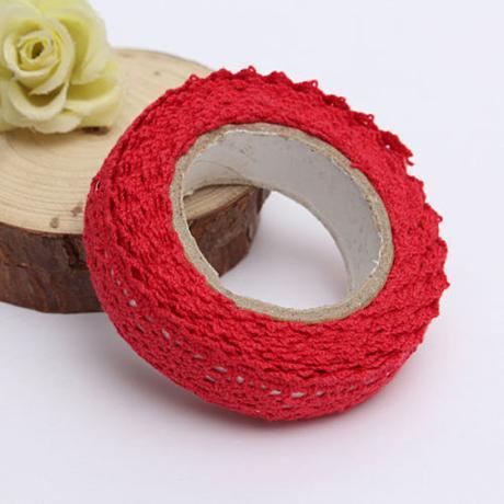 2x samolepící bavlněná krajka - červená,