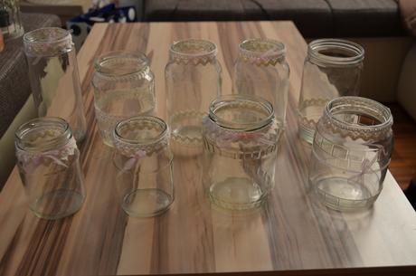 Romantické ozdobené sklenice - 9 ks,